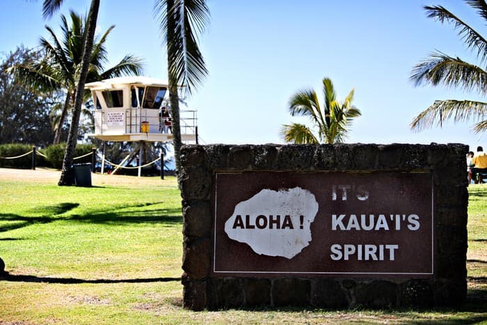 Aloha Sign on Kauai beach