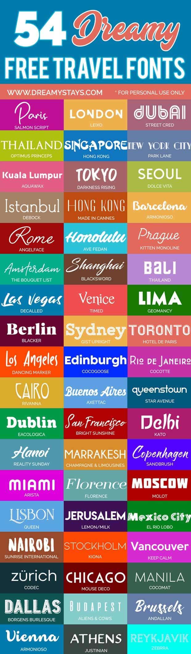 50+ Free Travel Fonts! #travel #fonts #cricut #travelfont