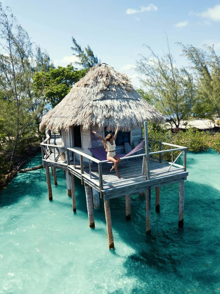 Image of overwater bungalows in Belize
