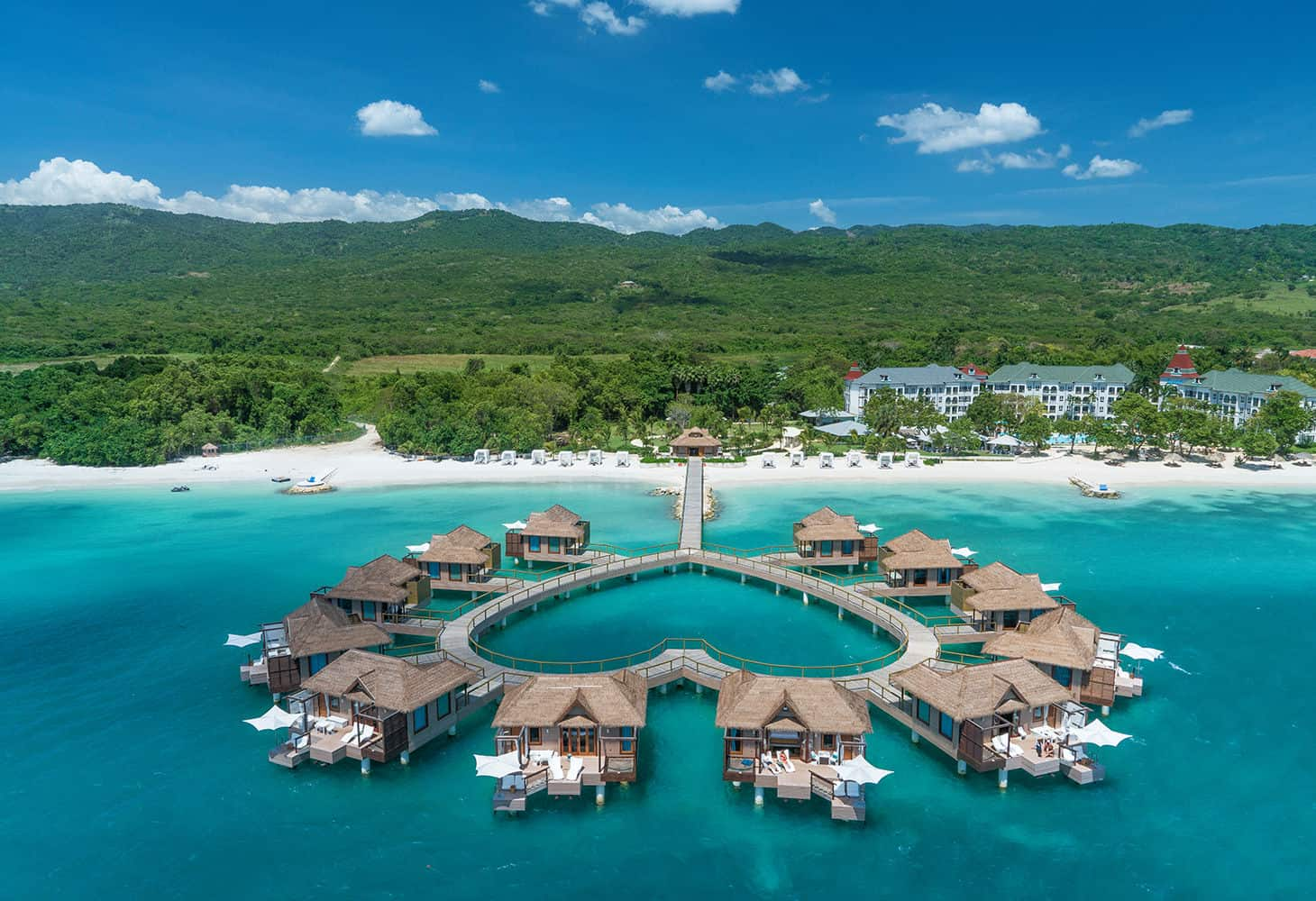 Image of overwater bungalows in Jamaica