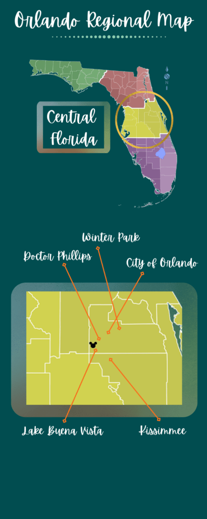 Regional map of the Orlando Florida area