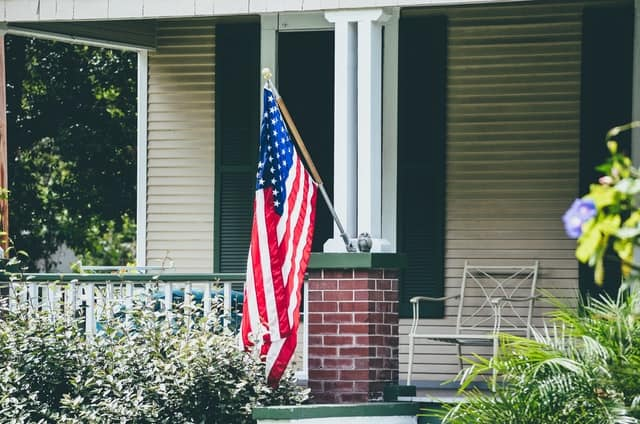 American flag at house in Celebration Florida