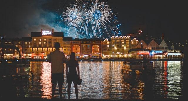 Fireworks over Boardwalk resort in Disney World